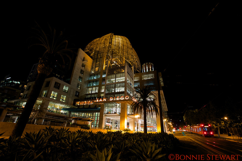 San Diego Library with the Red Trolley