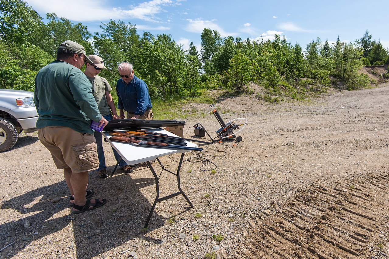 Dinu, Connor and Gary preparing for skeet shooting at the sandpit, Grand Lake Stream, Maine - June 2015