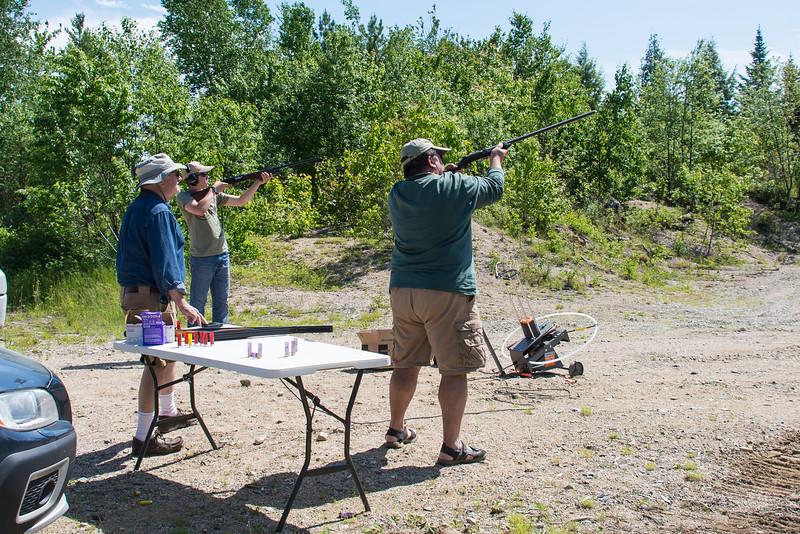 Connor and Dinu taking aim, Grand Lake Stream, Maine - June 2015