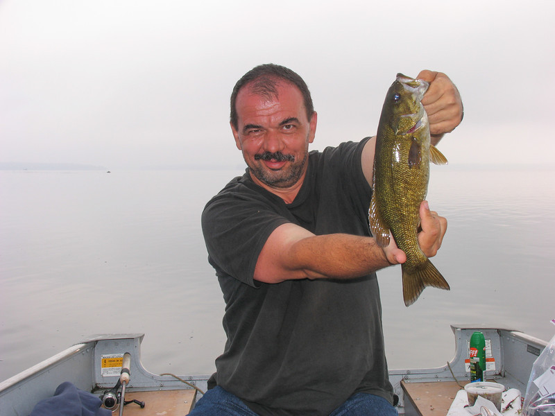 Dinu Iorga with Smallmouth Bass - Grand Lake Stream - July 2006