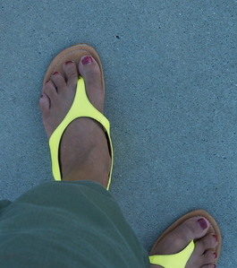 my really really bright sandals. between the colour and the sale price, I could not resist.