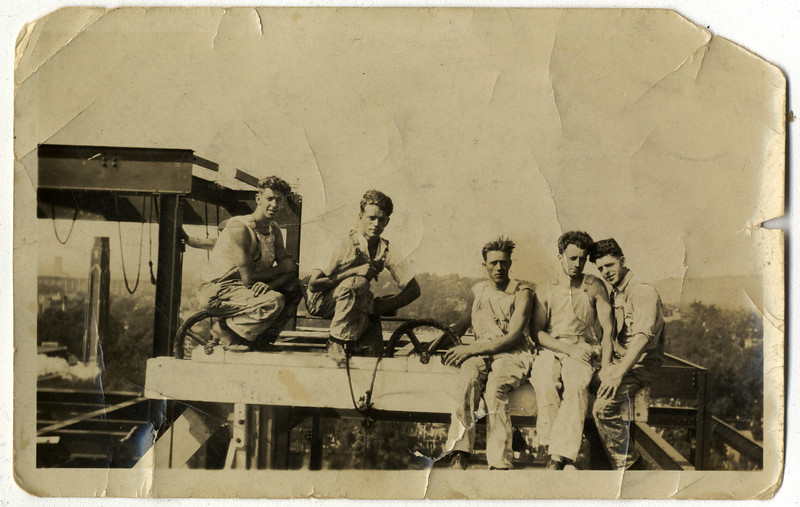 Construction of the Yale Library.  Francis Ryan, second from right.