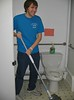 Mopping at St. Francis House, a drop-in center for people living with HIV/AIDS.