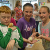 Caden Wiedman, with his chick, Lucky Clucky, Madison Lohman, and her chick, Lucky, and Katie Carie, with her chick, Nightmare, raised chicks in their fifth grade science class.