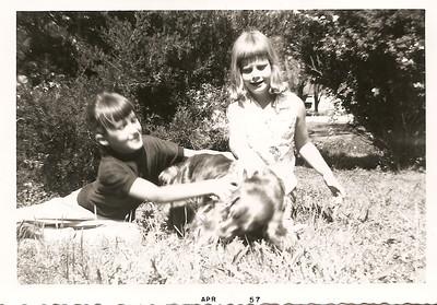 Melanie and Sally Bramlett (10) & Taffy, my Grandmother's cocker spaniel