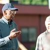 """Former Boston Celtic and Hall of Famer Sam Jones and City Councilor Mark Bodanza talk to the crowd at the Bennett School basketball court on Saturday afternoon. Jones was given a proclamation from the city, naming June 4th """"Sam Jones Day"""". SENTINEL & ENTERPRISE / Ashley Green"""