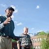 """Former Boston Celtic and Hall of Famer Jones and City Councilor Mark Bodanza talk to the crowd at the Bennett School basketball court on Saturday afternoon. Jones was given a proclamation from the city, naming June 4th """"Sam Jones Day"""". SENTINEL & ENTERPRISE / Ashley Green"""