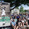 """A large crowd gathers to listen to Mike Bangrazi, former Boston Celtic and Hall of Famer Jones and City Councilor Mark Bodanza at the Bennett School basketball court on Saturday afternoon. Jones was given a proclamation from the city, naming June 4th """"Sam Jones Day"""". SENTINEL & ENTERPRISE / Ashley Green"""