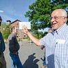 Former Boston Celtic and Hall of Famer Sam Jones greets John Fiandaca at the Bennett School basketball court in Leominster on Saturday afternoon. Jones was in town to sign copies of City Councilor Mark Bodanza's new book about him, Ten Times a Champion. SENTINEL & ENTERPRISE / Ashley Green