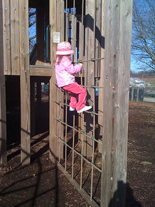 Climbing the ropes at Linvilla