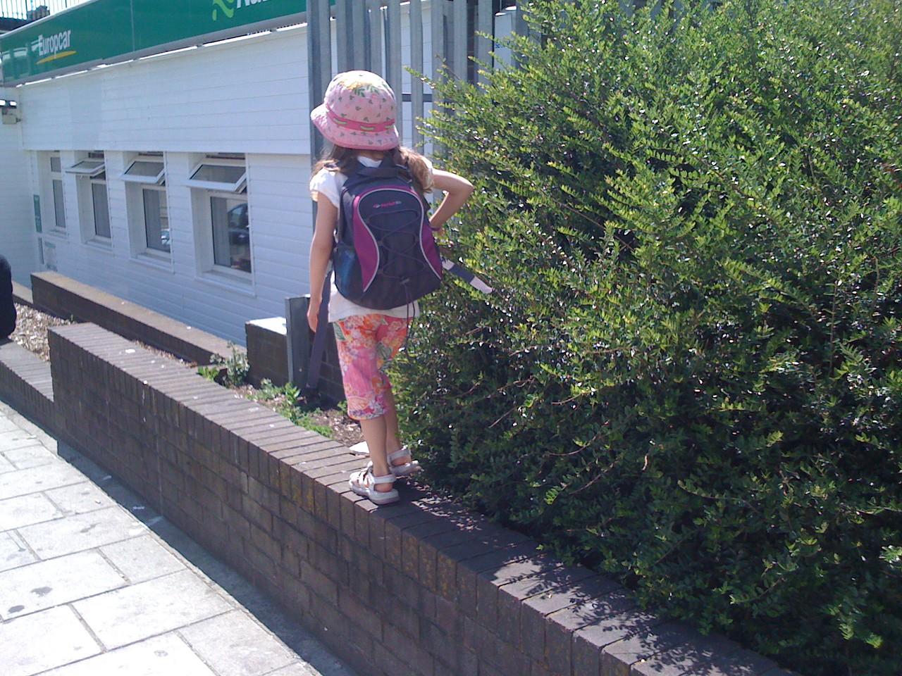 Walking along the ledges at Churchill Square