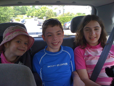 Sam, Evan, Emma on the road to tubing
