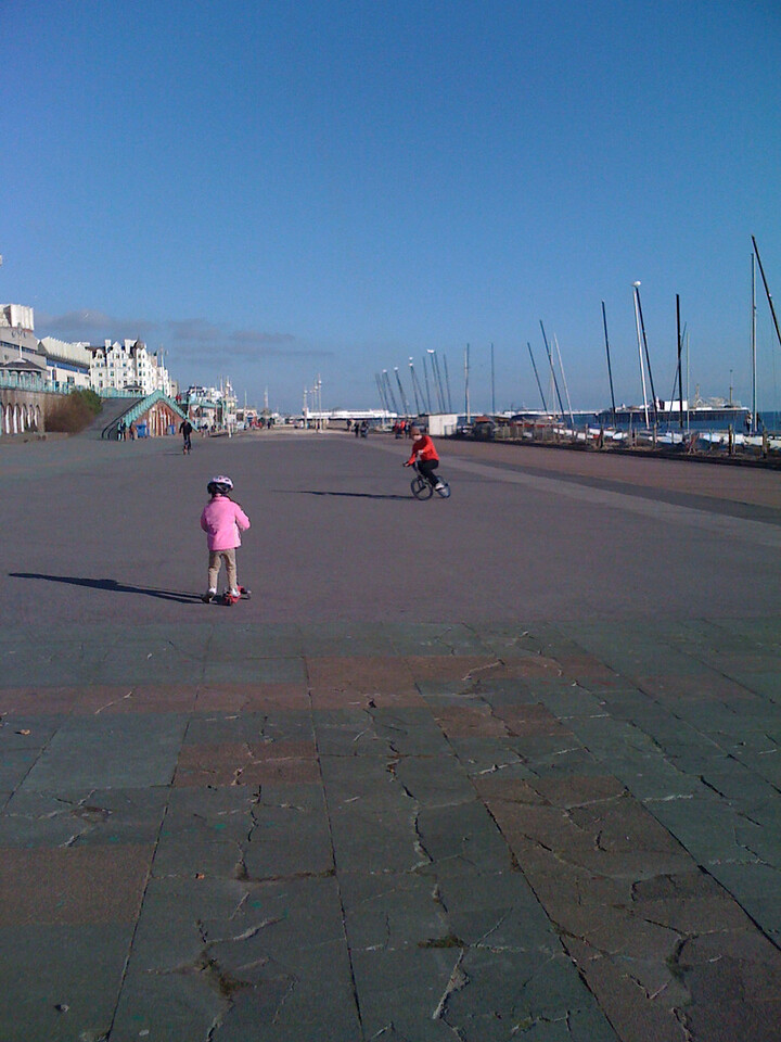 Scootering along the beach