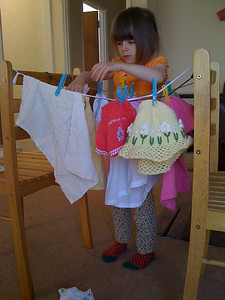 Hanging the bears' laundry