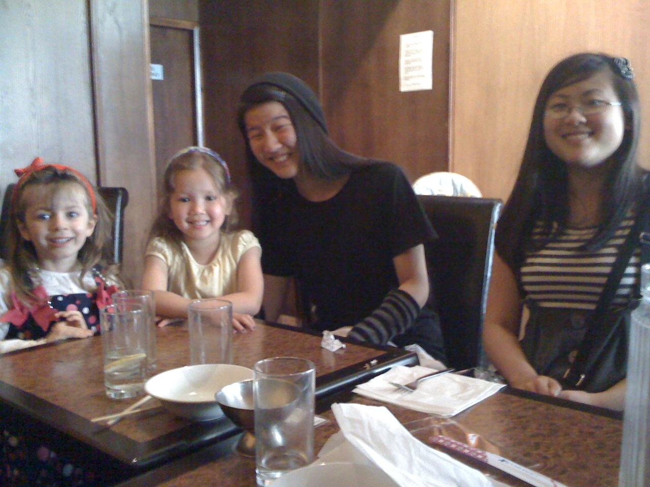 Sam, Cerys, Rhiannon and Celyn at Celyn's birthday lunch