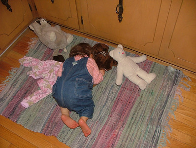 Snuggling with bears in the kitchen