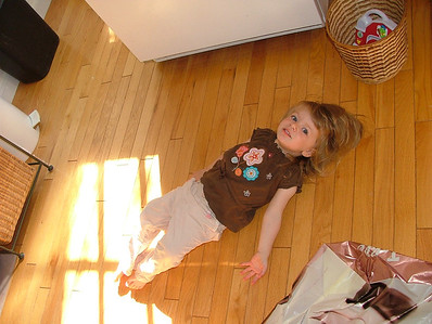 Lying on the floor: it's what two-year olds do