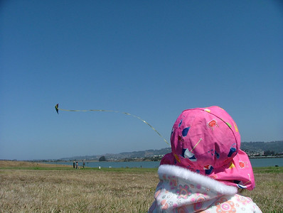 Watching Dad fly his kite