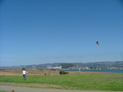 Daddy flies his foil kite