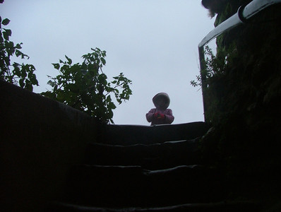 Peering down into the dungeon