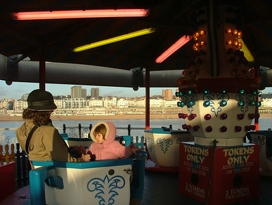 Riding the Tea Cups at the Palace Pier