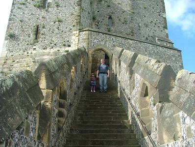 Dad & Sam start up to the castle keep at Arundel