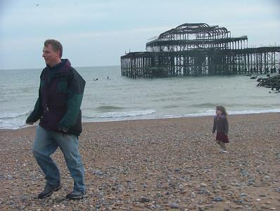 Sam chases her Dad on Brighton Beach