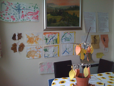 Art wall and Thanksgiving Tree
