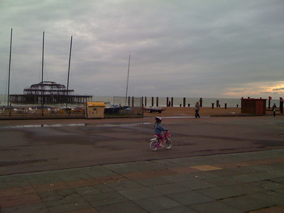 Learning to ride in front of the west pier