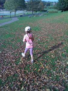 Crunching leaves at Hove Park
