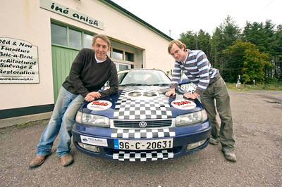 Tim Farley and Mike Moloney with their Mazda 626 ready for The Scally Rally.