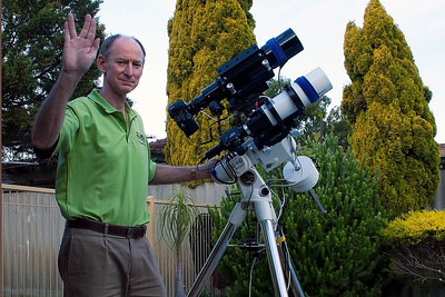 Geoff with his Telescope - Apogee 80mm APO with Orion ST80 Guidescope