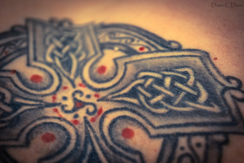 Celtic Cross chest tattoo detail, me