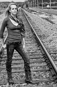 001b Shanna McCoy Senior Shoot - Train Tracks (plitz lucas)(nik b&w)