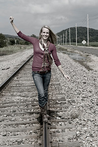 013a Shanna McCoy Senior Shoot - Train Tracks (nik b&w part desat)