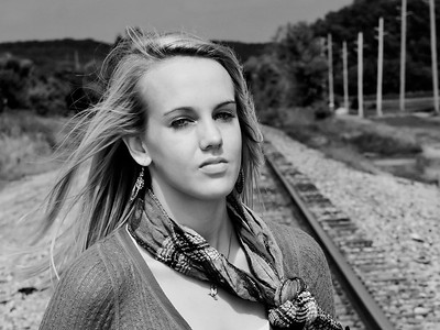 002d Shanna McCoy Senior Shoot - Train Tracks (brill-warm)(nik b&w) crop