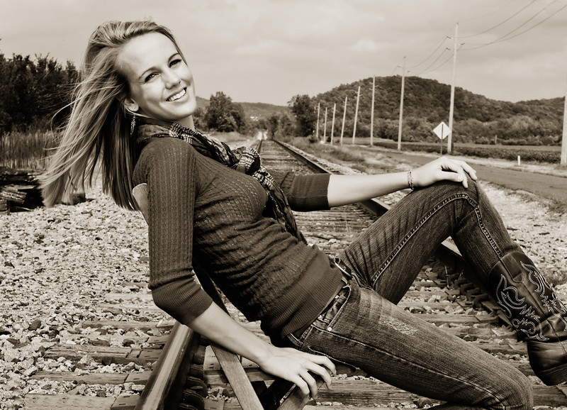 008c Shanna McCoy Senior Shoot - Train Tracks (nik b&w part desat) rotated phototone