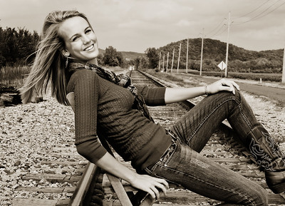 008c Shanna McCoy Senior Shoot - Train Tracks (nik b&w part desat) rotated phototone