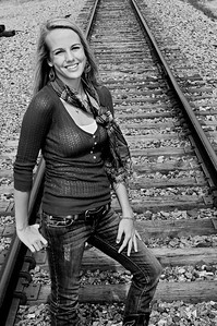 006a Shanna McCoy Senior Shoot - Train Tracks (nik b&w)