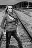 002c Shanna McCoy Senior Shoot - Train Tracks (brill-warm)(nik b&w)
