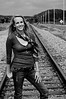 003g Shanna McCoy Senior Shoot - Train Tracks (plitz)(nik b&w)