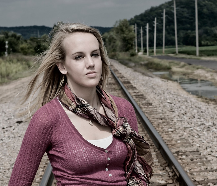 002b Shanna McCoy Senior Shoot - Train Tracks (brill-warm)(nik b&w part desat) crop