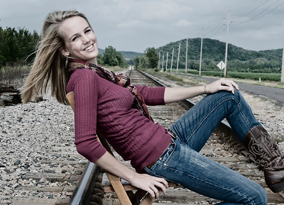 008c Shanna McCoy Senior Shoot - Train Tracks (nik b&w part desat) rotated