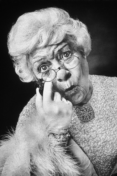 A sophisticated, and surprised old woman. NOTE: this image is only available for limited editorial or personal use -- it is NOT available for commercial use.
