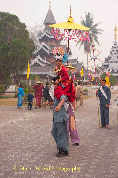 Jeweled Prince Carried About On Shoulders of Young Man, Maehongson, Thailand