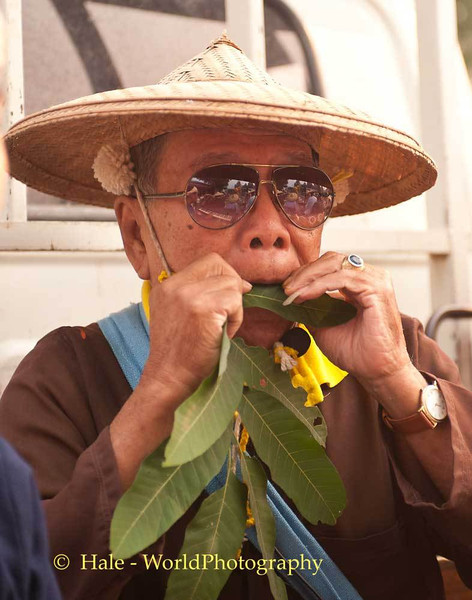 A Traditional Shan Musician, A Leaf Blower, Playing Traditional Music
