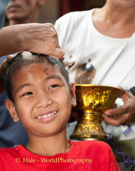 A Young Shan Boy Gets His Head Shaved, A First Step Towards Becoming A Novice Monk
