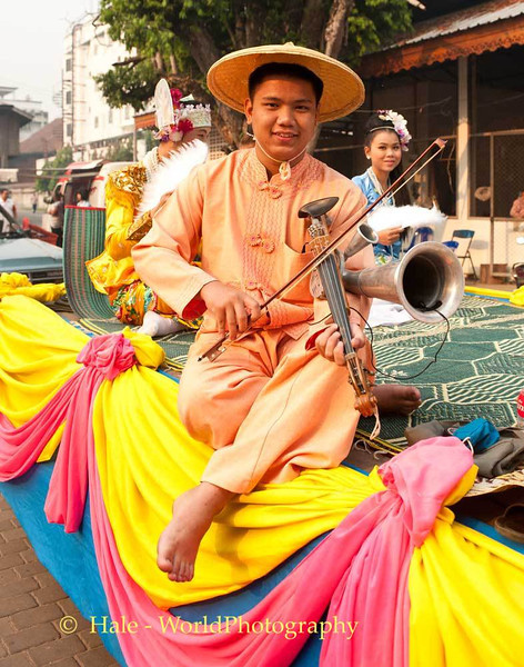A Traditional Shan Musician Entertaining the Waiting Crowd