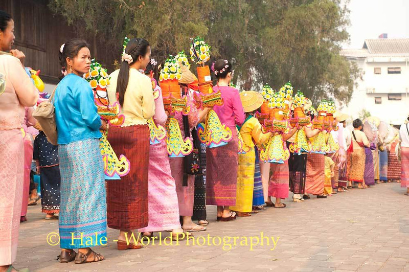 Shan Women In Traditional Dress Bearing Offerings