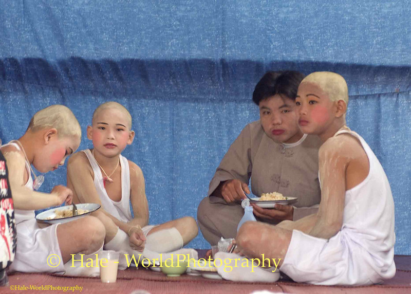 Sang Long Eating Their Breakfast Prior to Procession Through Maehongson
